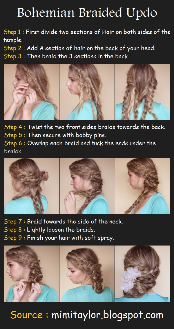 How to do a bohemian braided updo