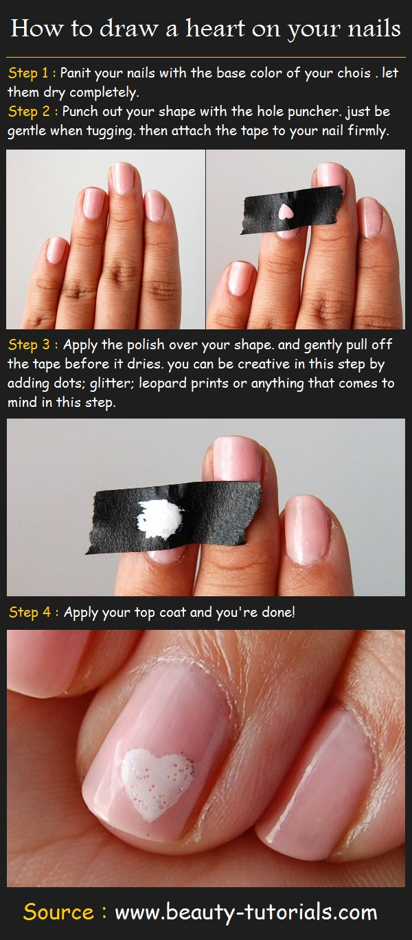 How to draw a heart on your nails