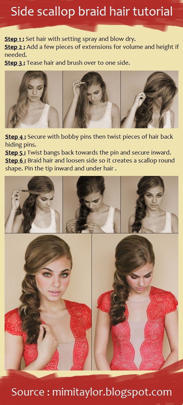 Side scallop braid hair tutorial