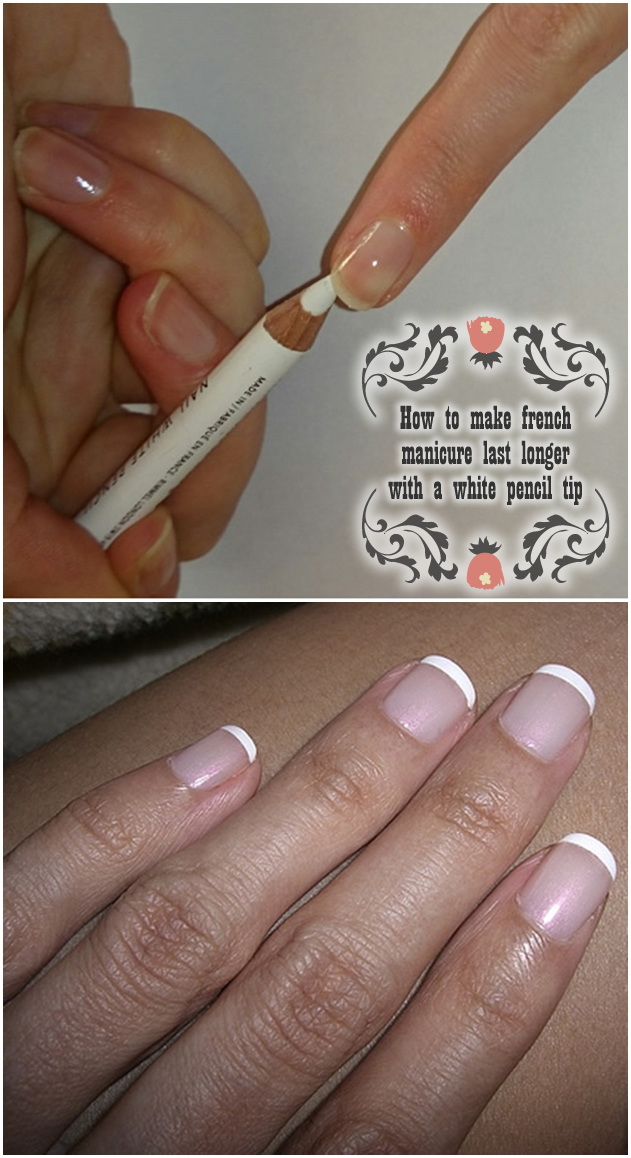How to make french manicure last longer with a white pencil tip